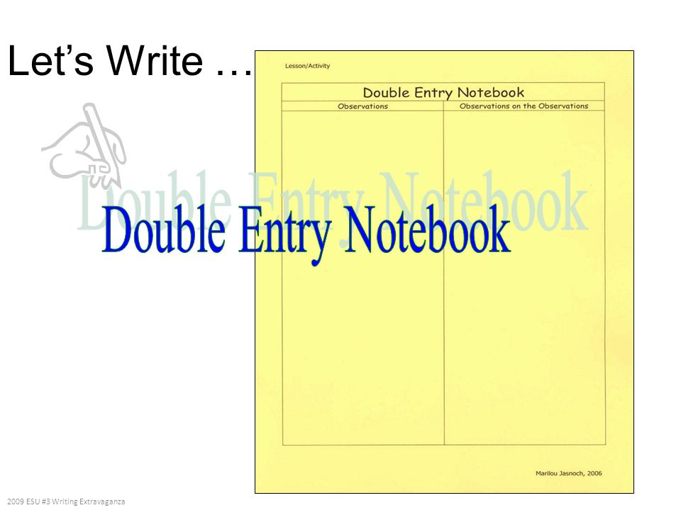 Let's Write … Double Entry Notebook 2009 ESU #3 Writing Extravaganza