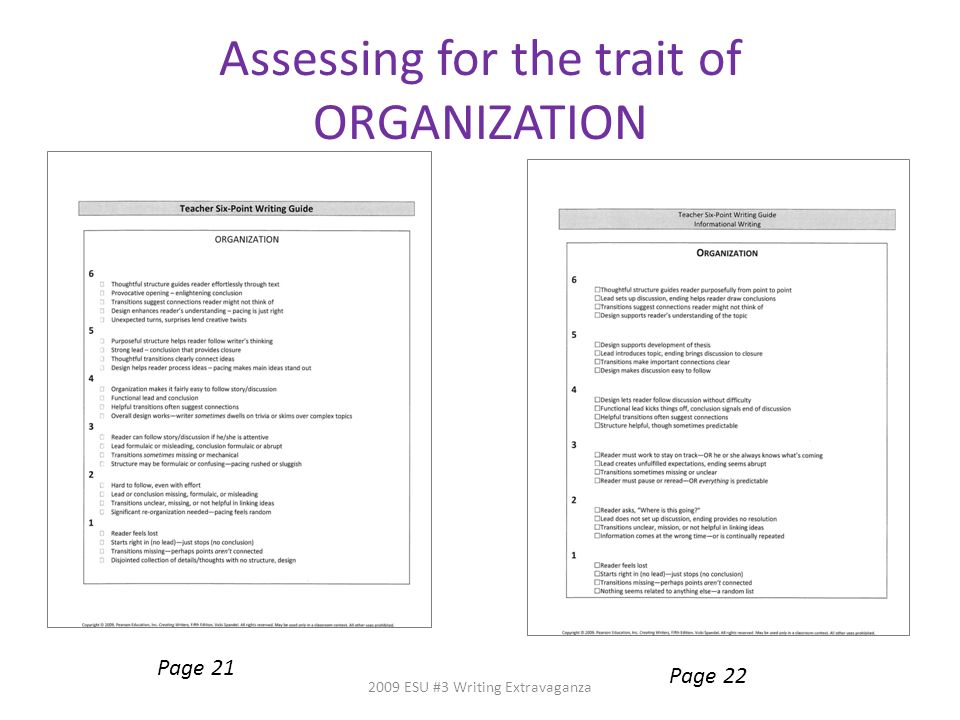 Assessing for the trait of ORGANIZATION