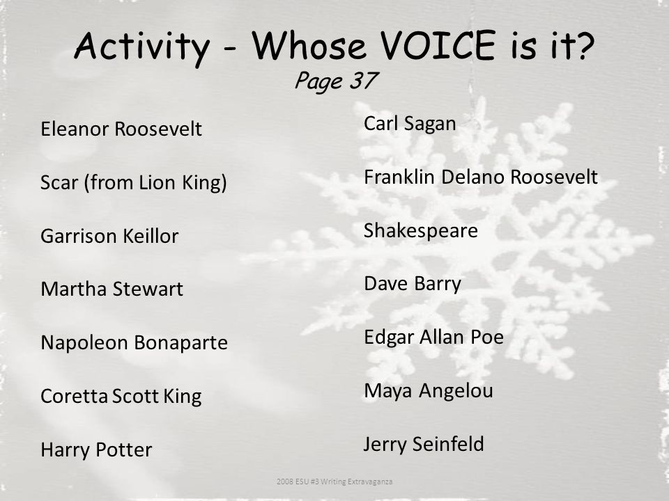 Activity - Whose VOICE is it Page 37