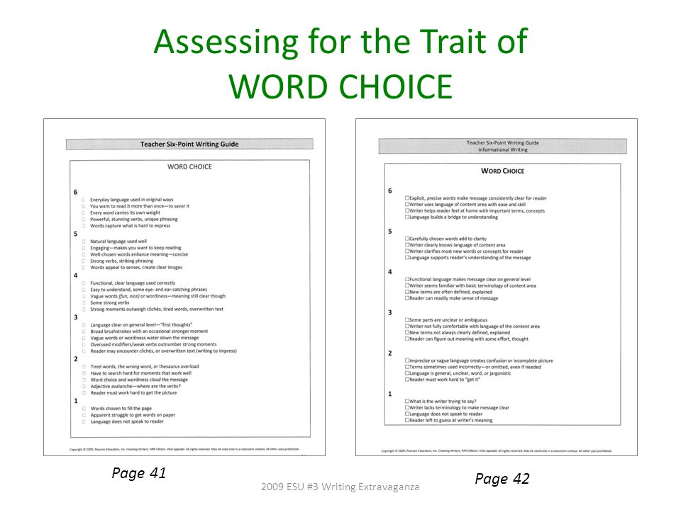 Assessing for the Trait of WORD CHOICE