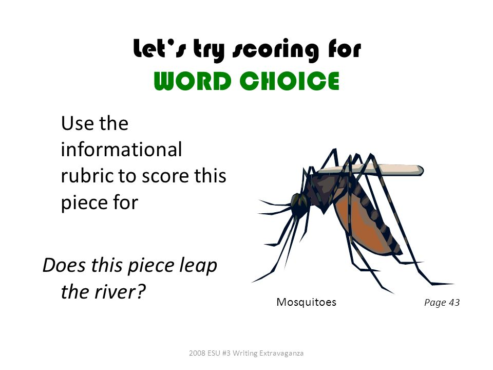 Let's try scoring for WORD CHOICE