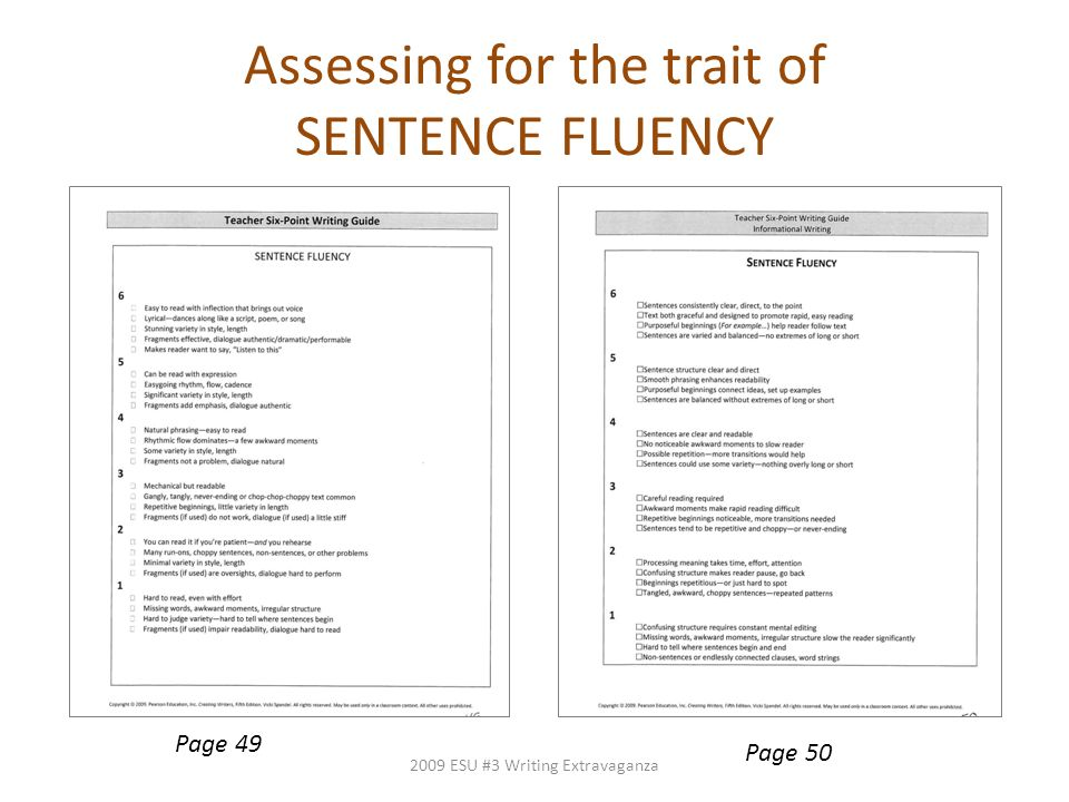 Assessing for the trait of SENTENCE FLUENCY