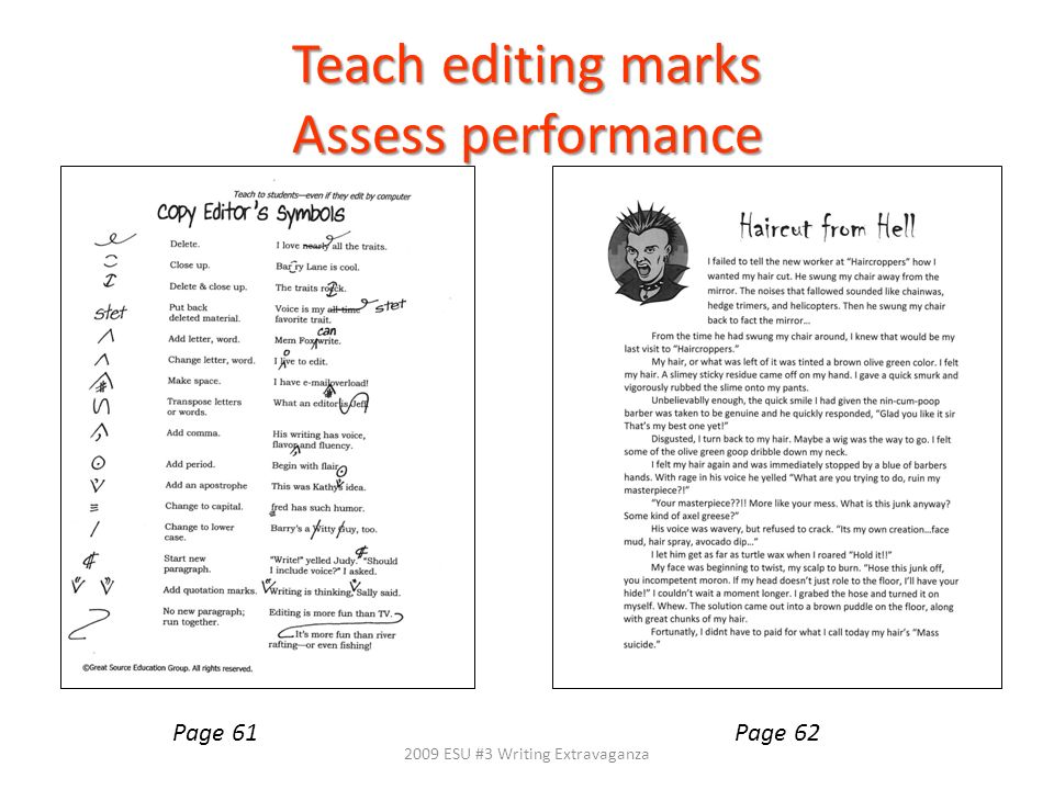 Teach editing marks Assess performance