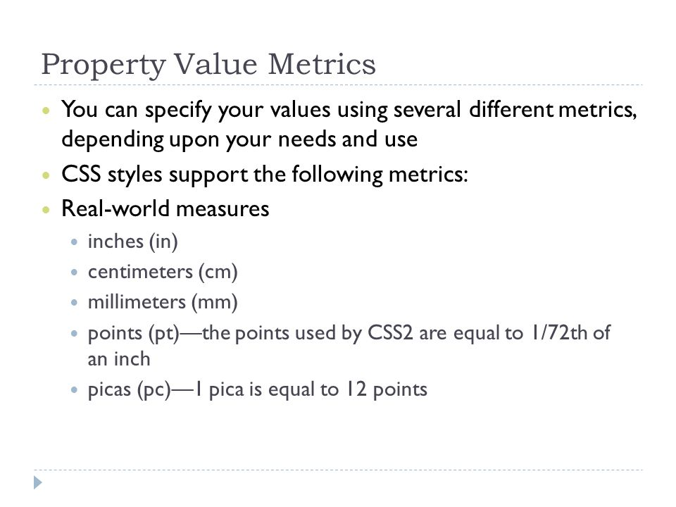 Property Value Metrics