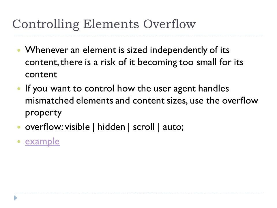 Controlling Elements Overflow