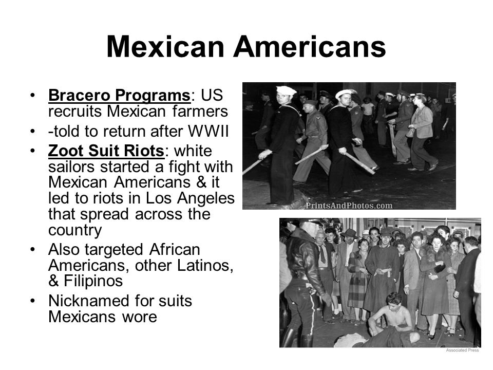 Mexican Americans Bracero Programs: US recruits Mexican farmers