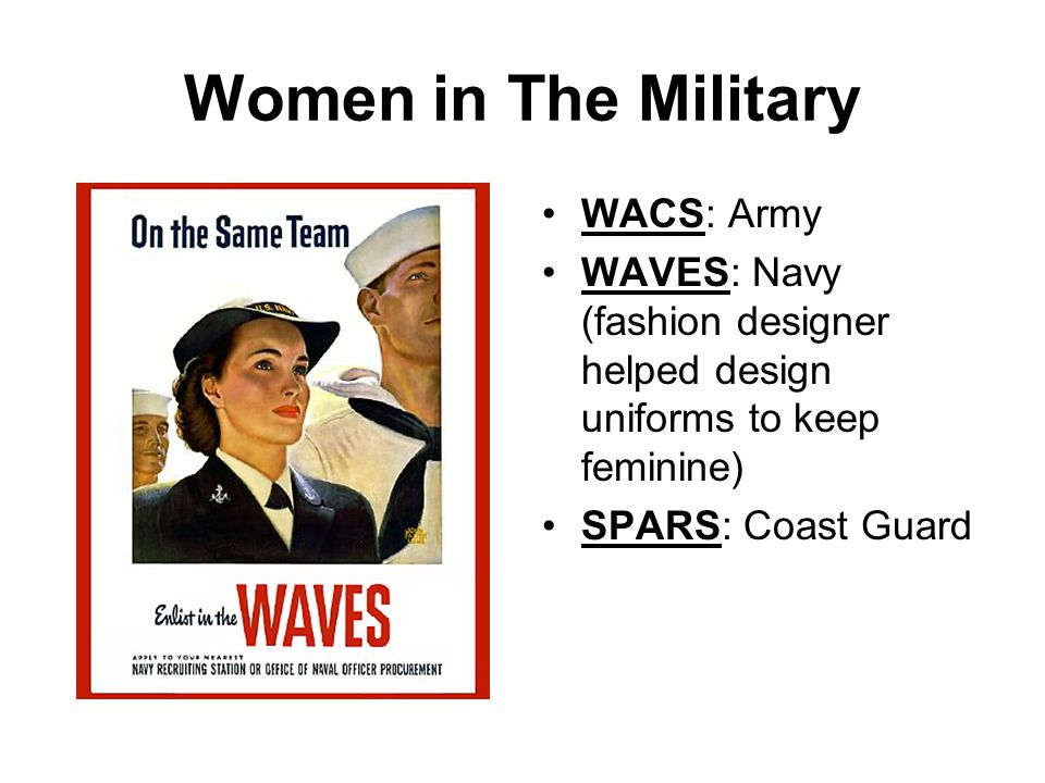 Women in The Military WACS: Army