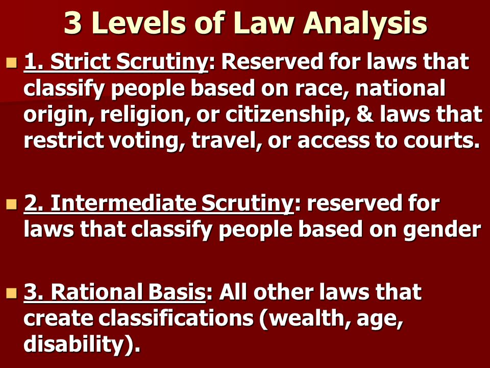 3 Levels of Law Analysis