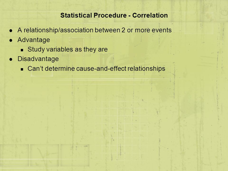 Statistical Procedure - Correlation