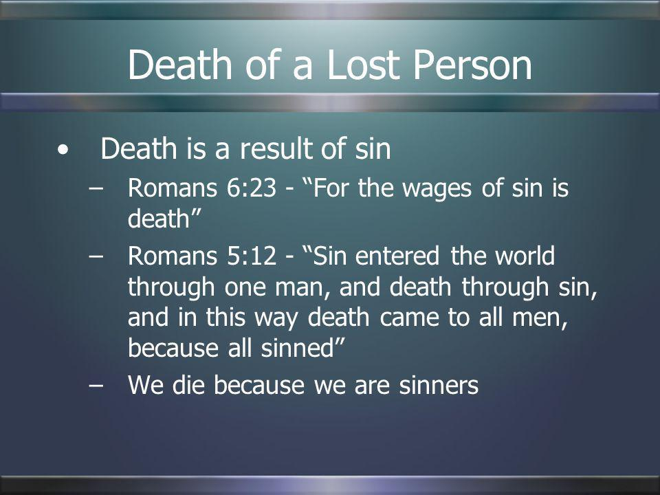 Death of a Lost Person Death is a result of sin