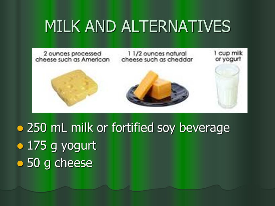 MILK AND ALTERNATIVES 250 mL milk or fortified soy beverage