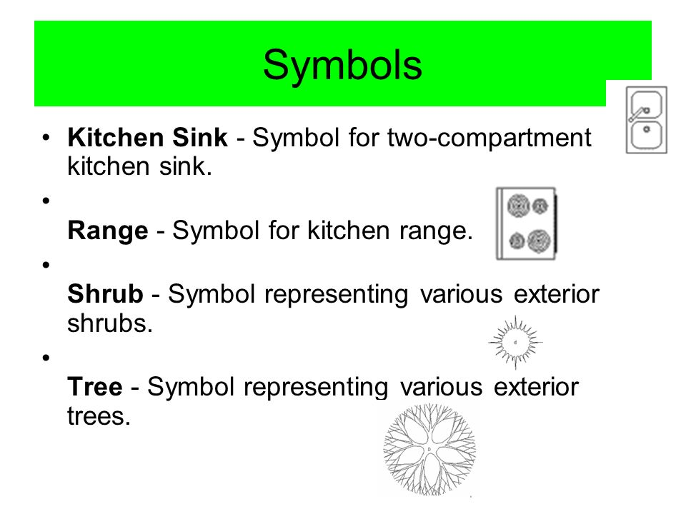 Symbols Kitchen Sink - Symbol for two-compartment kitchen sink.