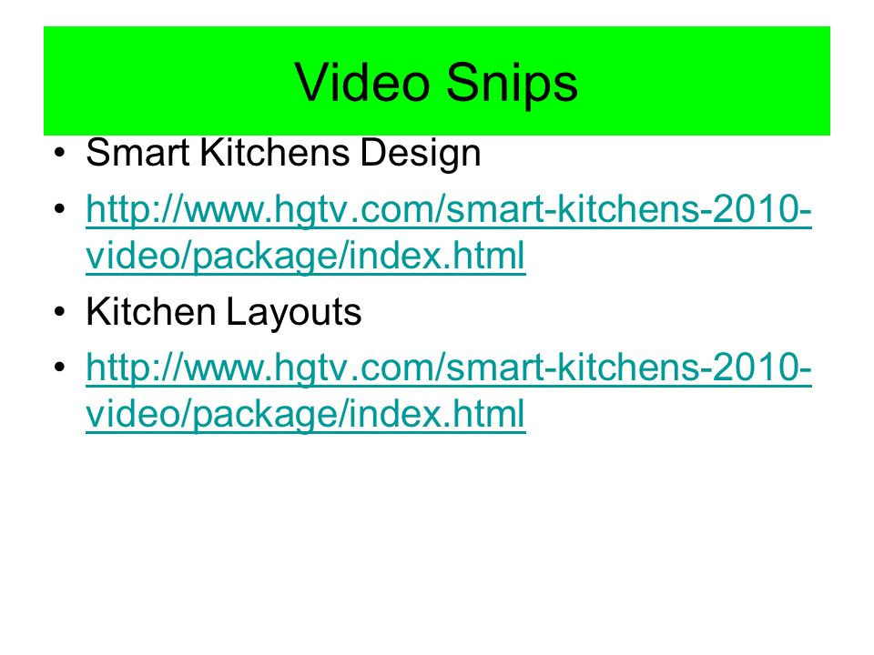 Video Snips Smart Kitchens Design