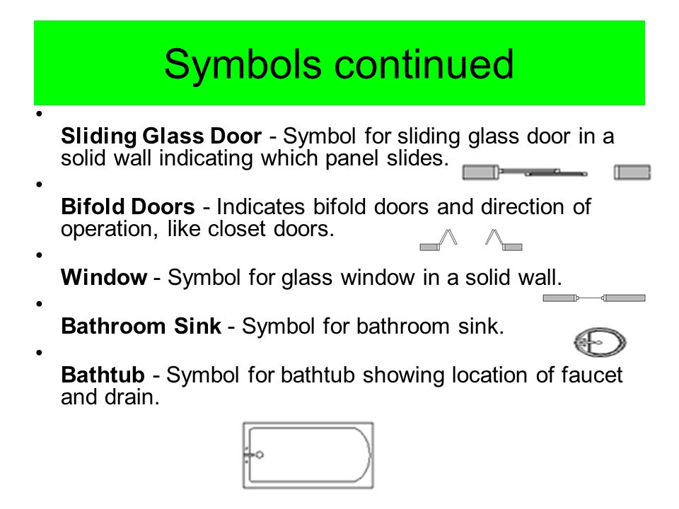 Symbols continued Sliding Glass Door - Symbol for sliding glass door in a solid wall indicating which panel slides.