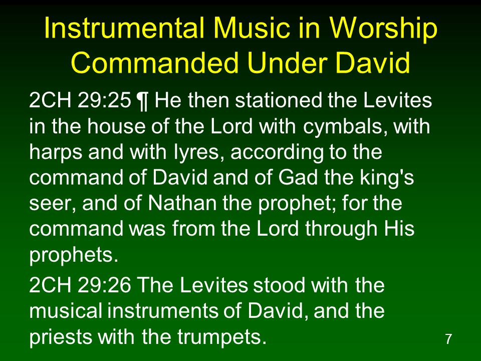 Instrumental Music in Worship Commanded Under David