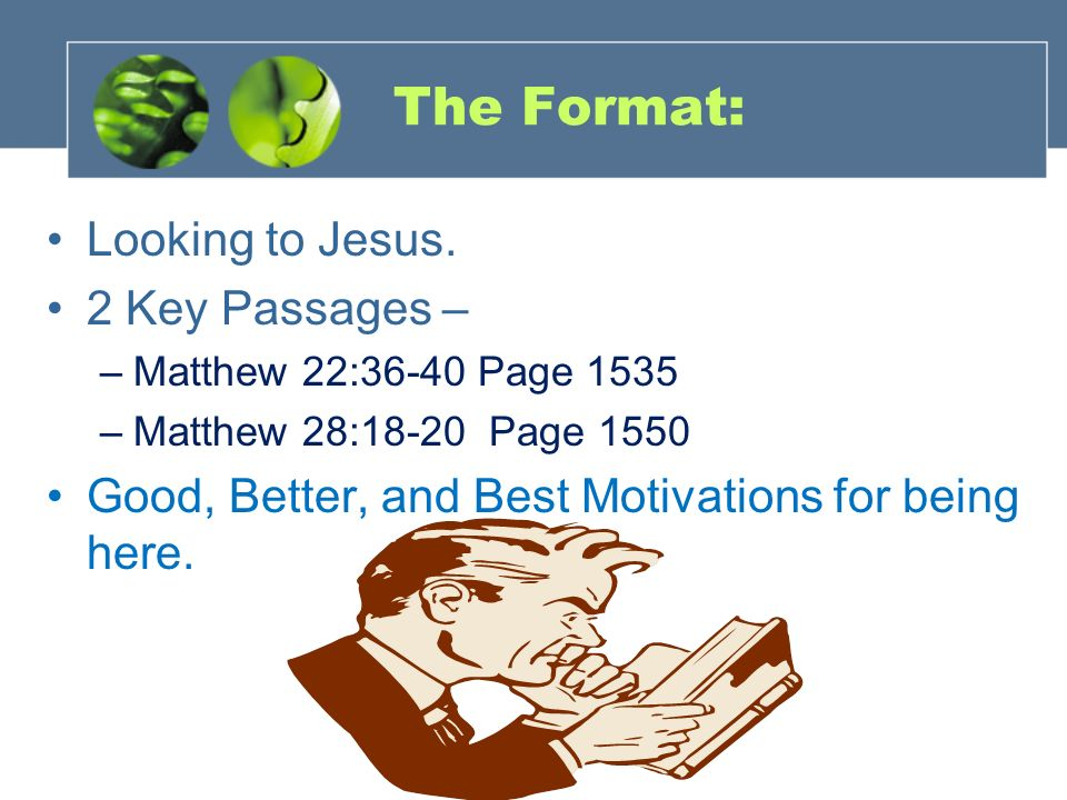 The Format: Looking to Jesus. 2 Key Passages –