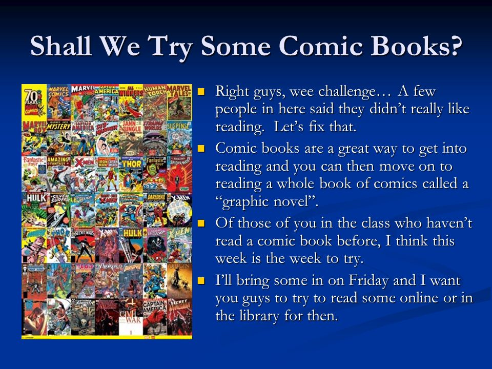 Shall We Try Some Comic Books