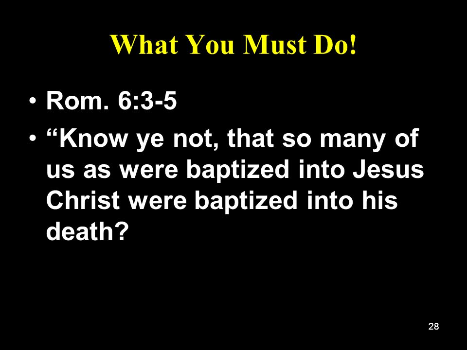 What You Must Do. Rom. 6:3-5.