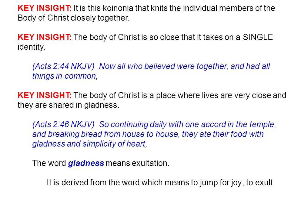 KEY INSIGHT: It is this koinonia that knits the individual members of the Body of Christ closely together.