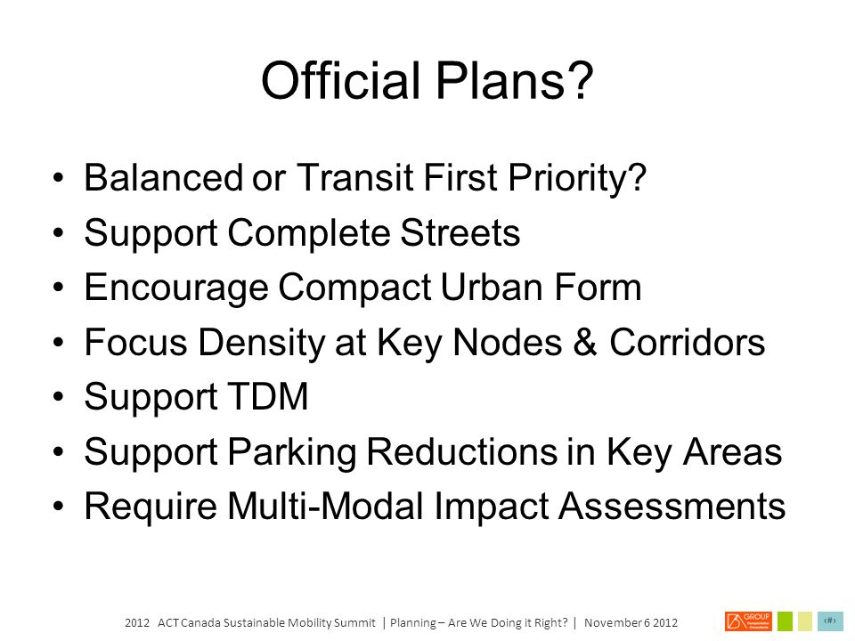 Official Plans Balanced or Transit First Priority