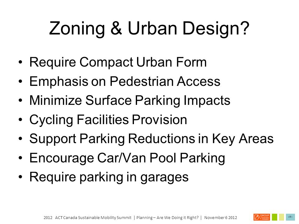 Zoning & Urban Design Require Compact Urban Form