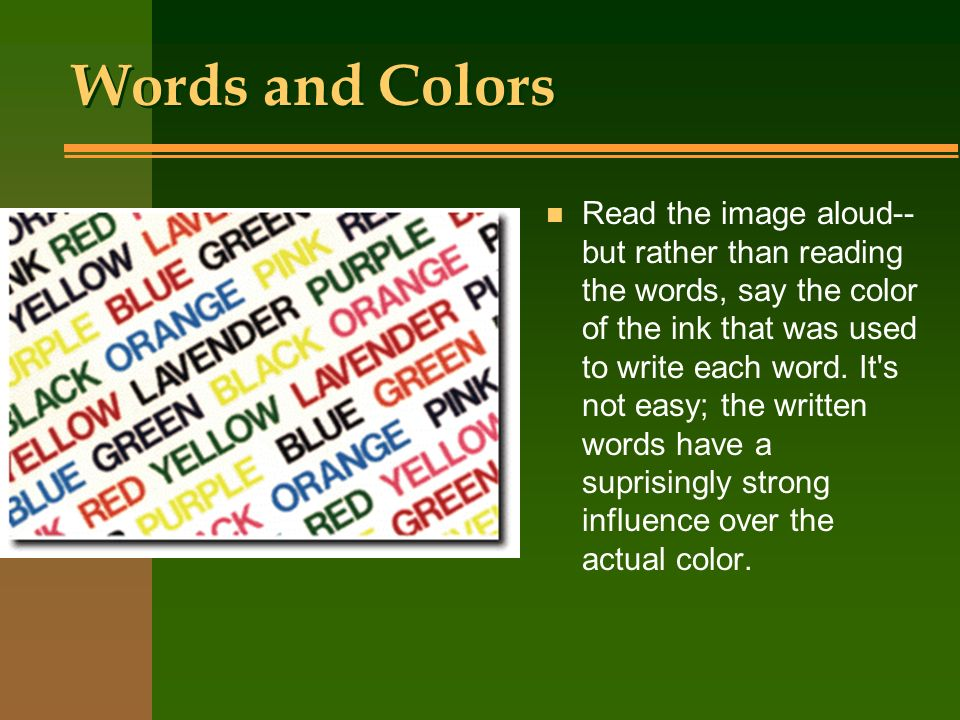 Words and Colors