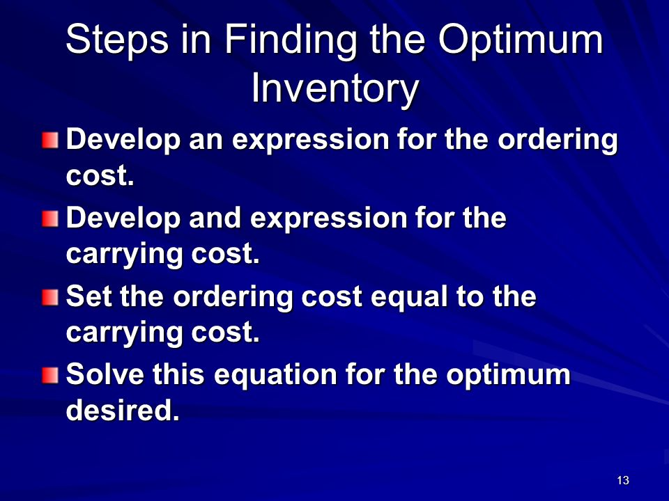 Steps in Finding the Optimum Inventory