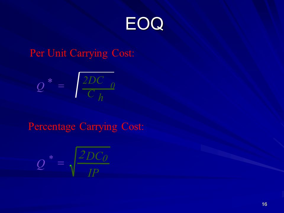 EOQ 2 DC IP Per Unit Carrying Cost: 2DC * Q = C h