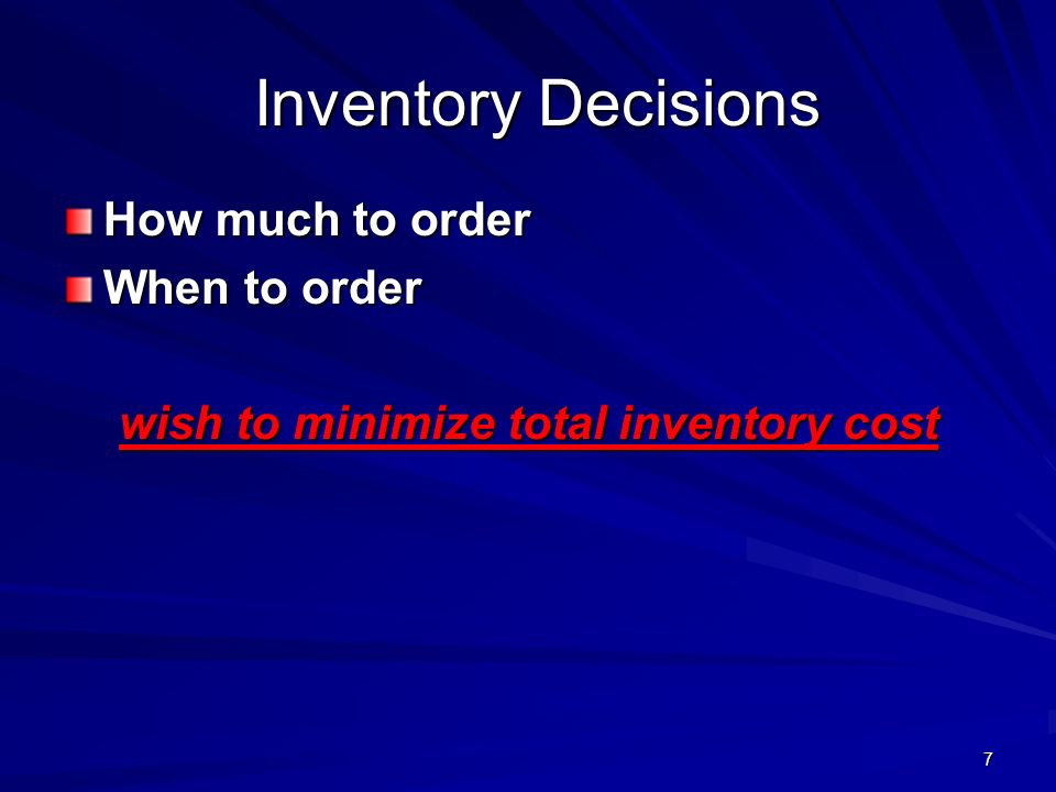 wish to minimize total inventory cost