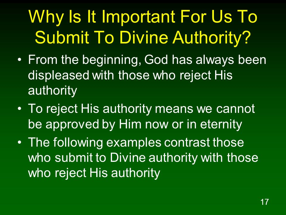 Why Is It Important For Us To Submit To Divine Authority