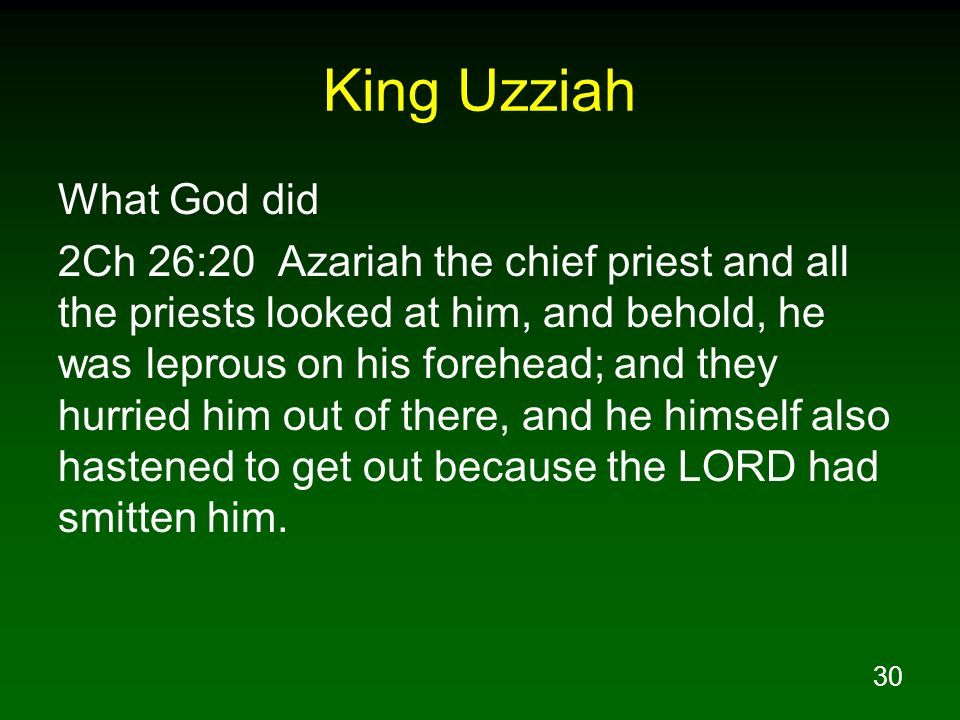 King Uzziah What God did