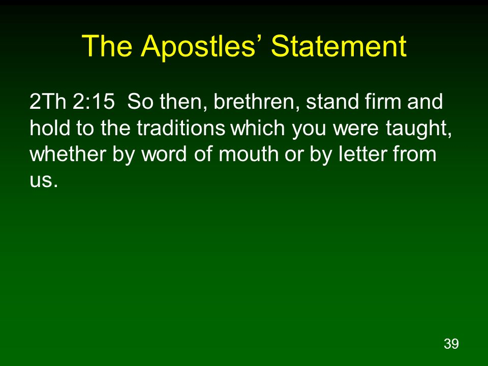 The Apostles' Statement