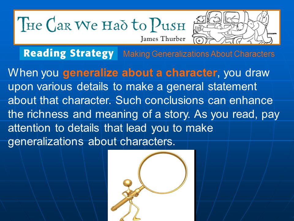 Making Generalizations About Characters