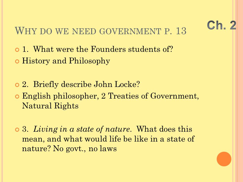 Why do we need government p. 13
