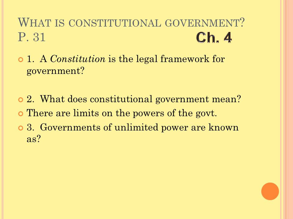 What is constitutional government P. 31