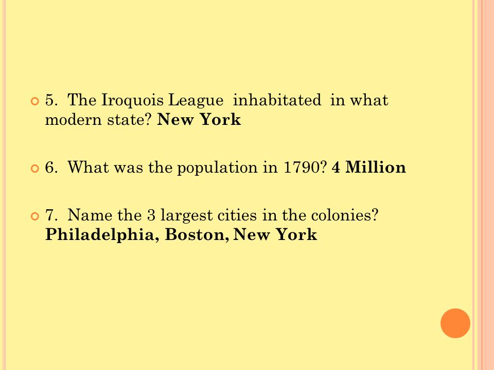 5. The Iroquois League inhabitated in what modern state New York