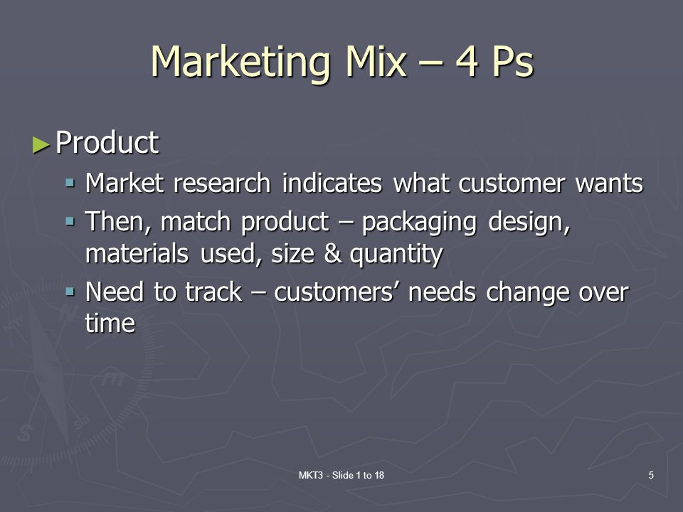 Marketing Mix – 4 Ps Product