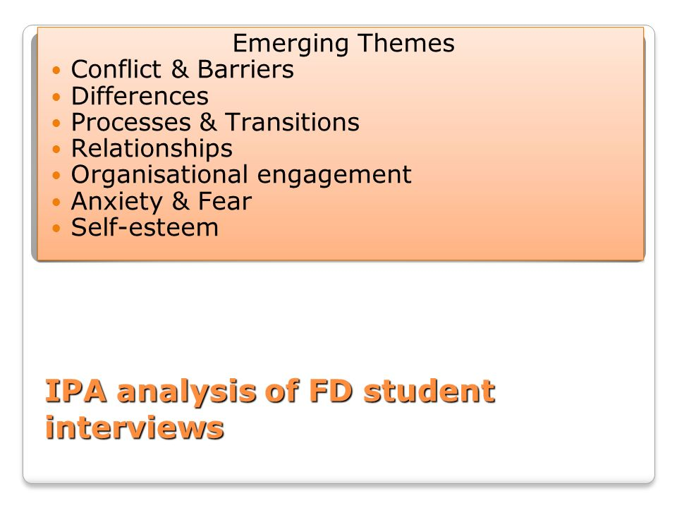 IPA analysis of FD student interviews