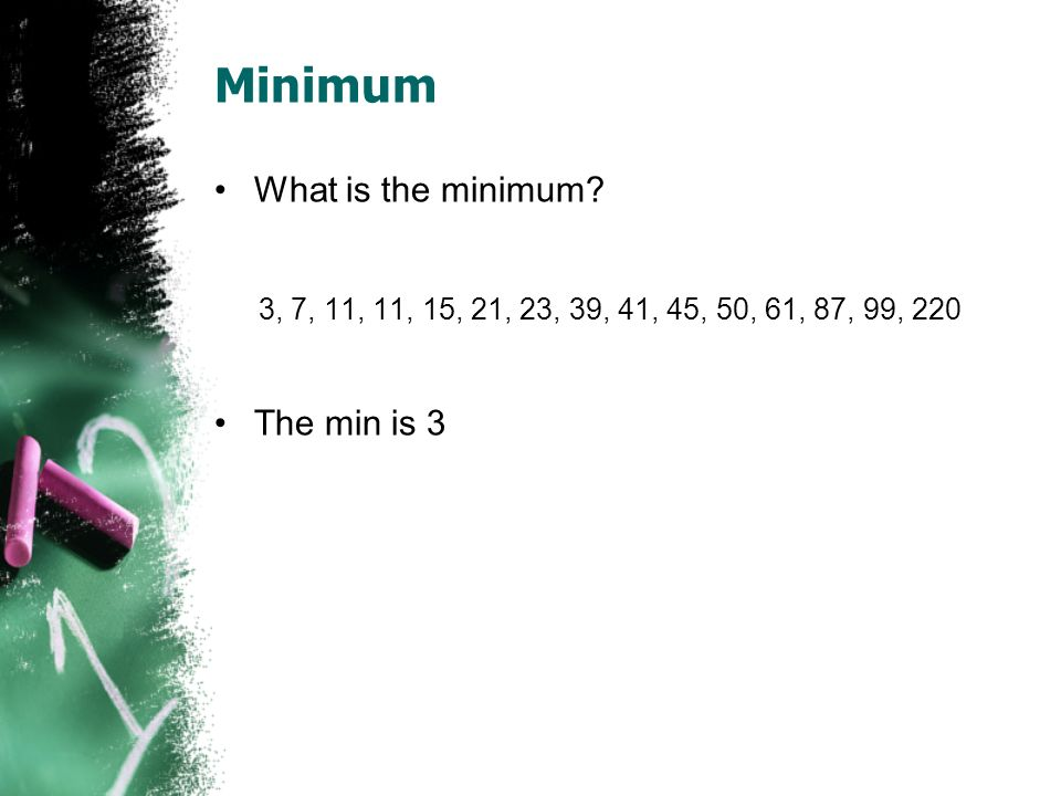 Minimum What is the minimum The min is 3