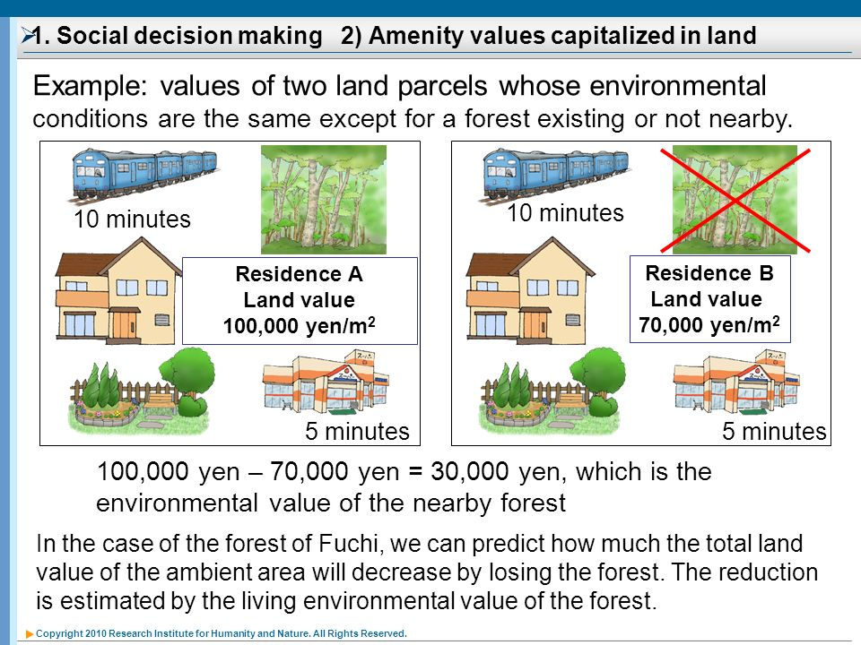 1. Social decision making 2) Amenity values capitalized in land