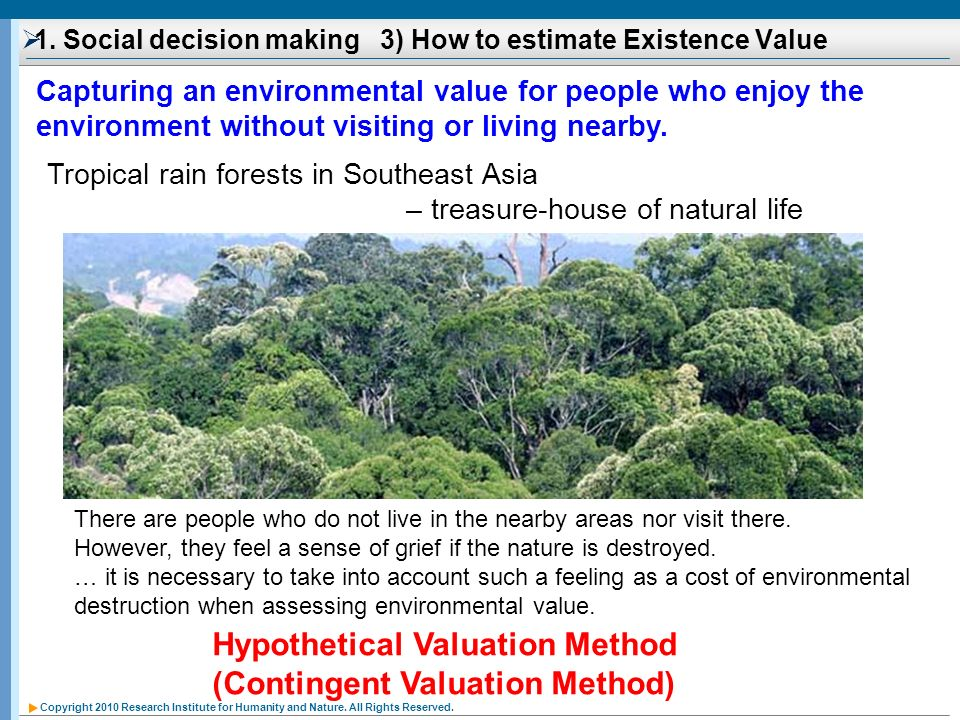 1. Social decision making 3) How to estimate Existence Value