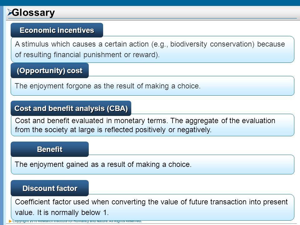 Cost and benefit analysis (CBA)