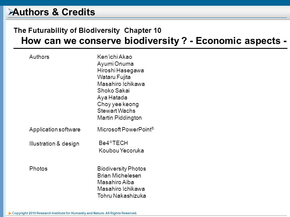 How can we conserve biodiversity - Economic aspects -