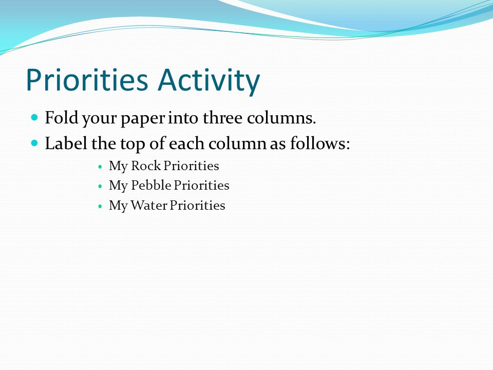 Priorities Activity Fold your paper into three columns.