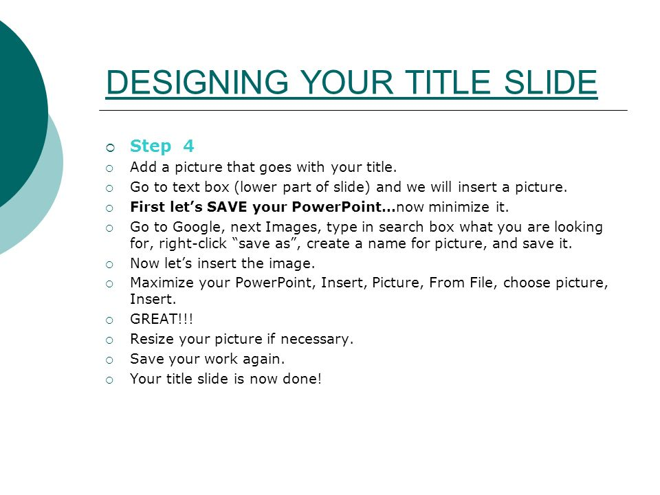 DESIGNING YOUR TITLE SLIDE