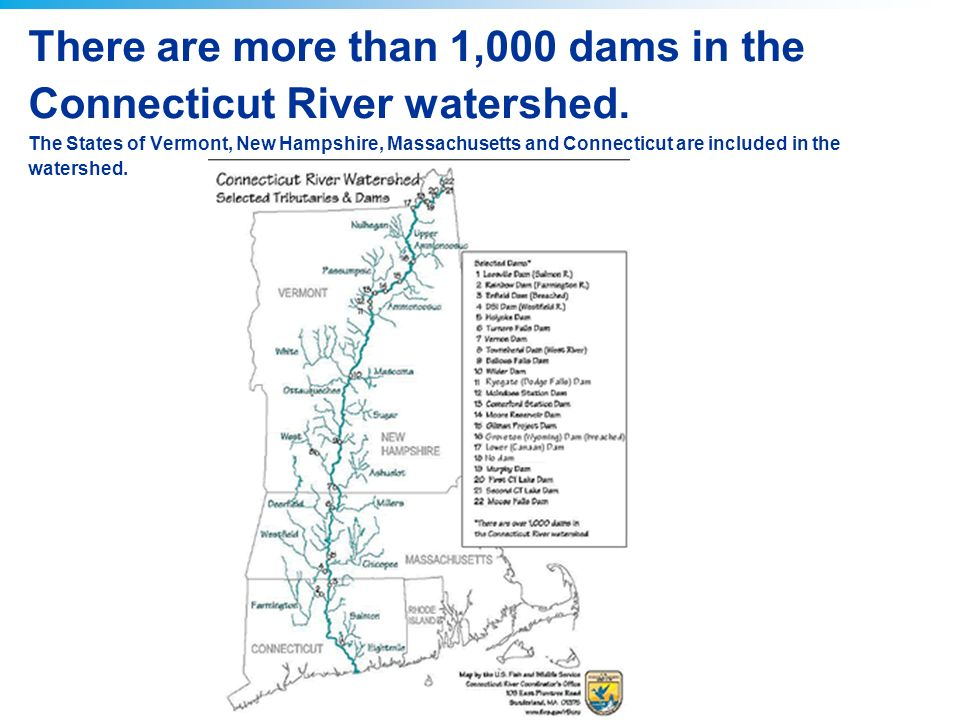 There are more than 1,000 dams in the Connecticut River watershed