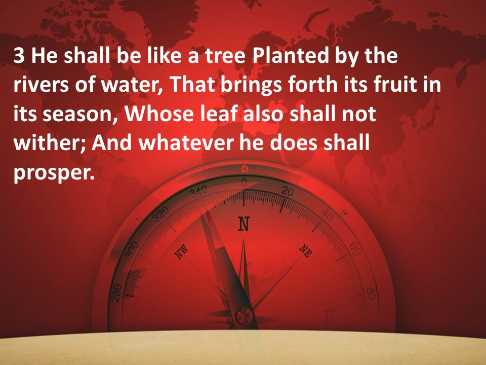 3 He shall be like a tree Planted by the rivers of water, That brings forth its fruit in its season, Whose leaf also shall not wither; And whatever he does shall prosper.