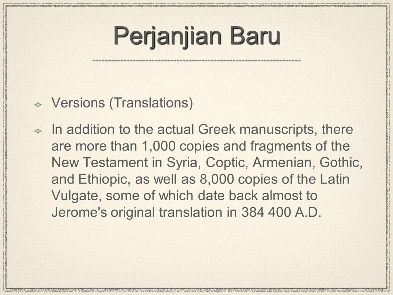 Perjanjian Baru Versions (Translations)