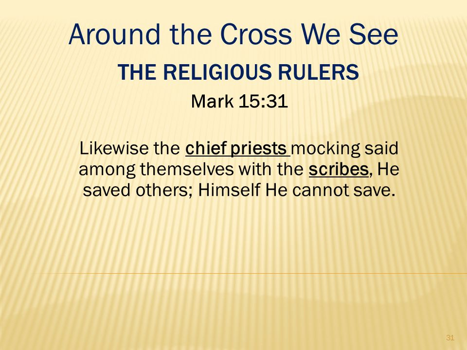 Around the Cross We See The Religious Rulers Mark 15:31