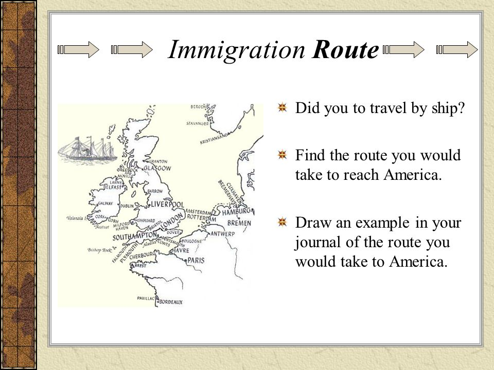 Immigration Route Did you to travel by ship